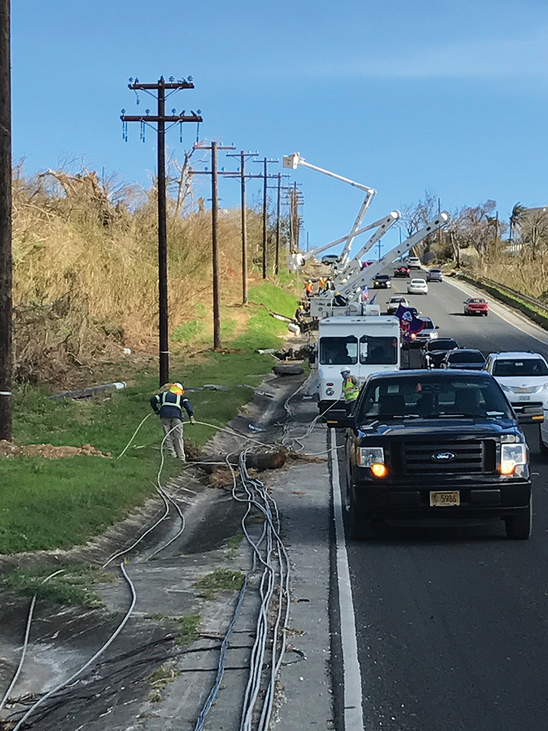 Line crews repair power lines after Super Typhoon Yutu