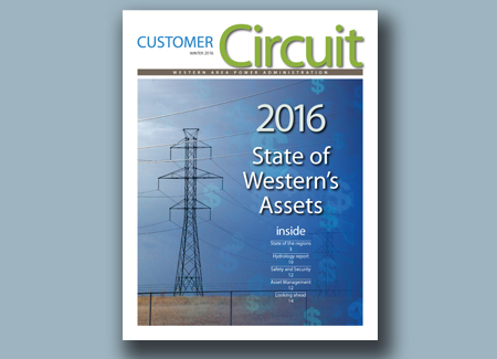 Cover of the Winter 2016 Customer Circuit featuring an electric tower against background of sky with embedded dollar signs.