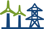 Icon of windmills and transmission lines