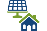 I con of solar panel and house